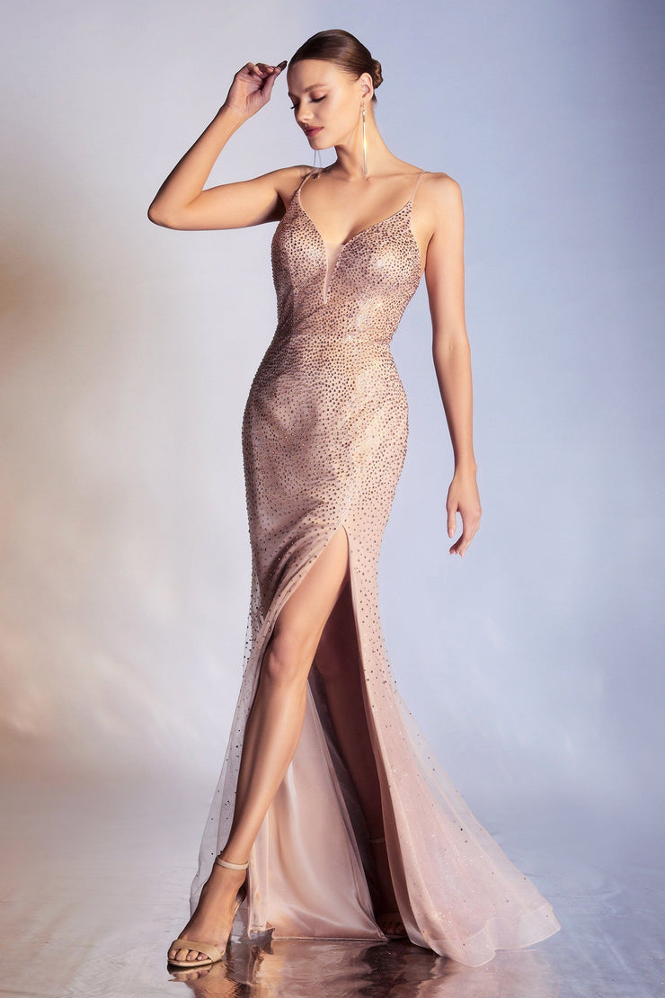 Long Fitted Glitter Dress by Cinderella Divine CR861