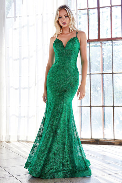 Long Fitted Glitter Dress by Cinderella Divine CB049