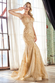 Long Fitted Glitter Dress with Corset Back by Cinderella Divine CB049