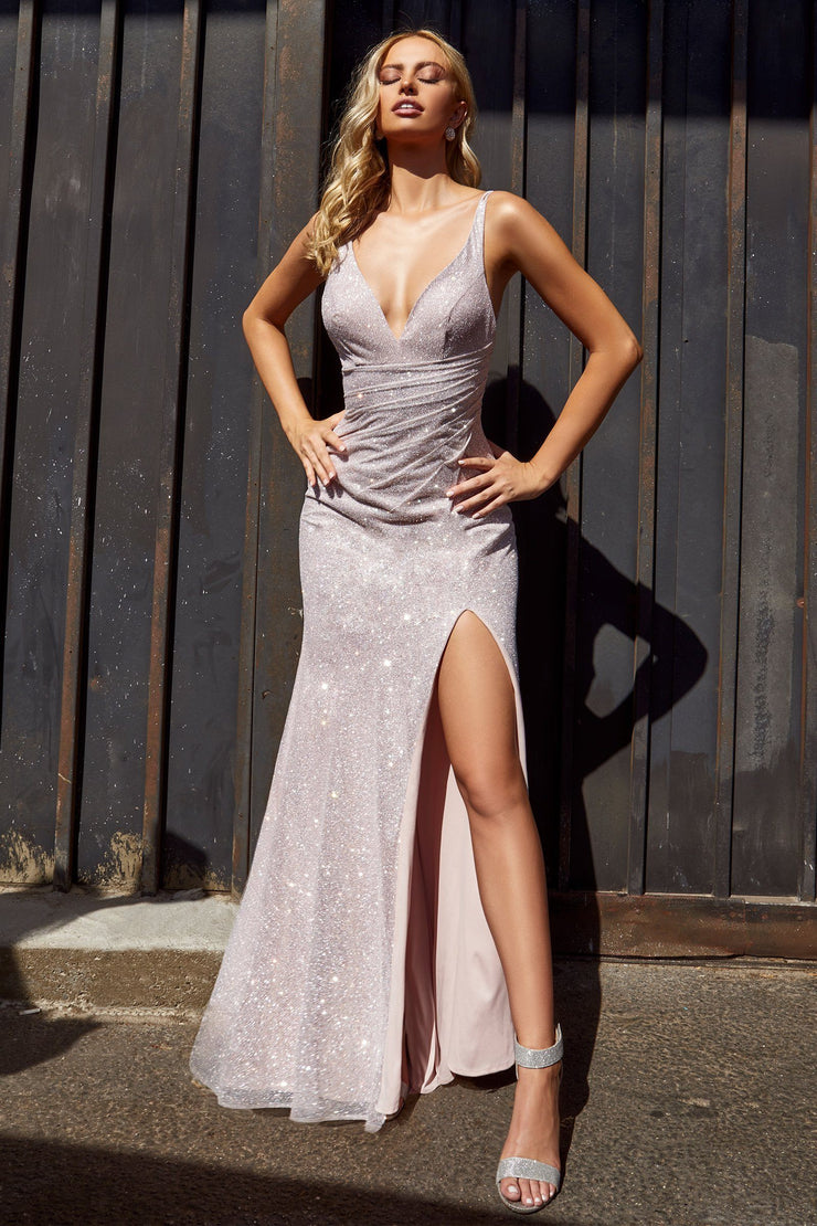 Long Fitted Glitter Dress with Slit by Cinderella Divine C29