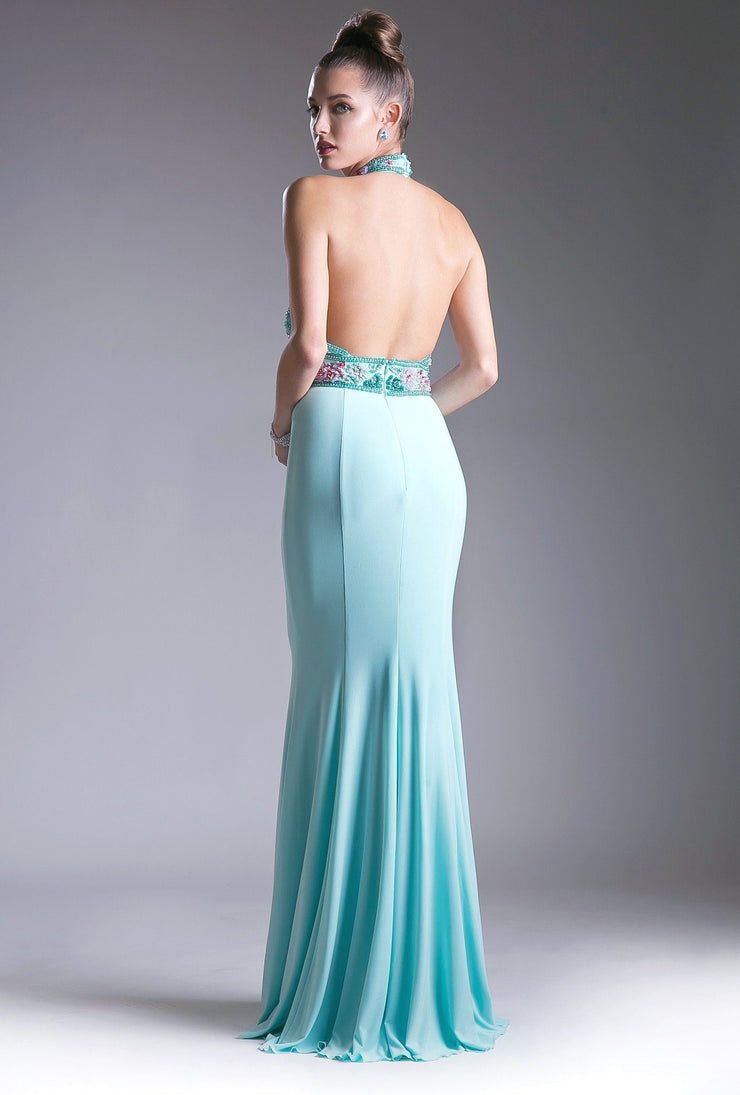 Long Fitted Halter Dress with Beaded Bodice by Cinderella Divine CR770-Long Formal Dresses-ABC Fashion