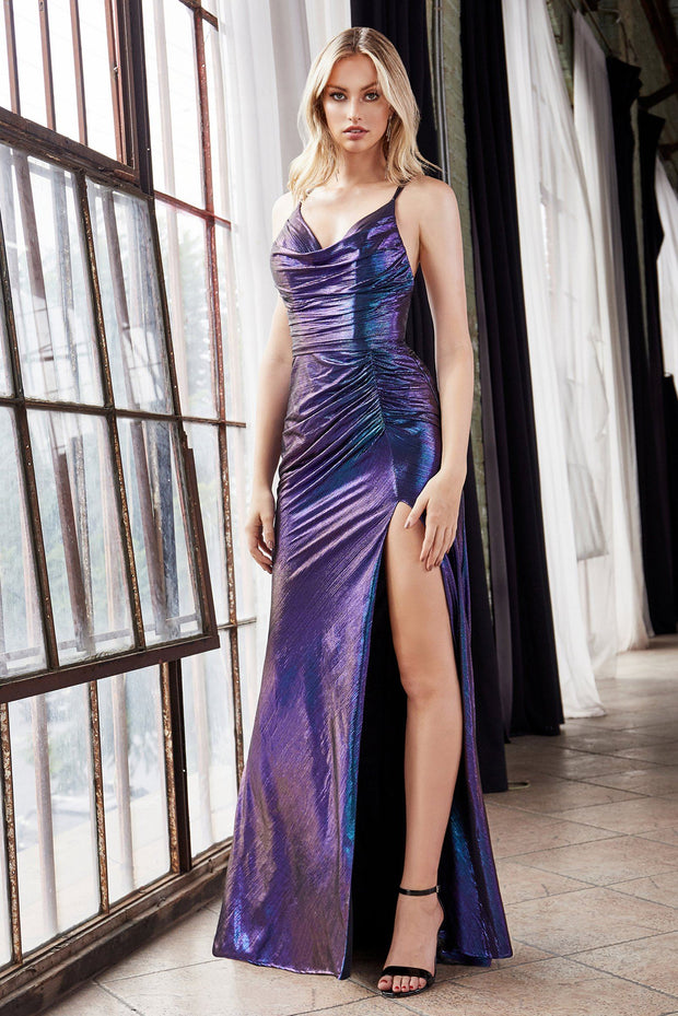 Long Fitted Iridescent Metallic Dress by Cinderella Divine CD188