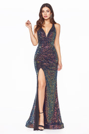 Fitted Iridescent Sequin Gown by Cinderella Divine CDS369