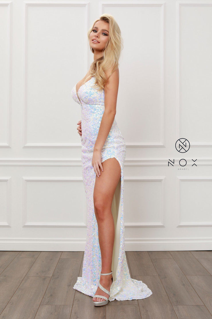 Long Fitted Iridescent Sequin Dress by Nox Anabel S458