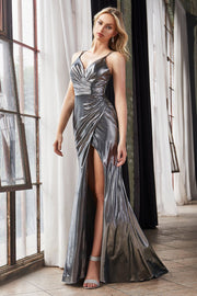 Long Fitted Metallic Dress with Slit by Cinderella Divine CD164