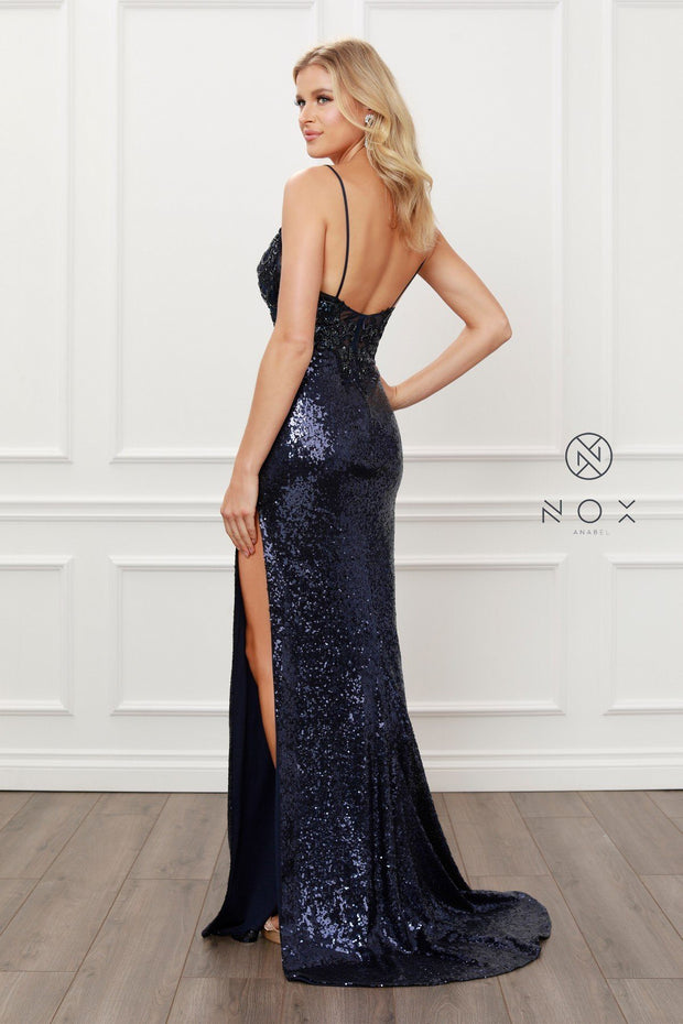 Long Fitted Metallic Sequin Dress by Nox Anabel E452