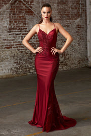 Long Fitted Satin Dress with Corset Back by Cinderella Divine CM311