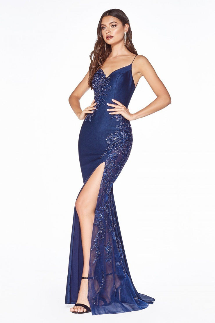 Long Fitted Satin Dress with Corset Back by Cinderella Divine CM311-Long Formal Dresses-ABC Fashion