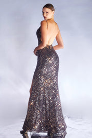 Long Fitted Sequin Dress by Cinderella Divine CDS404
