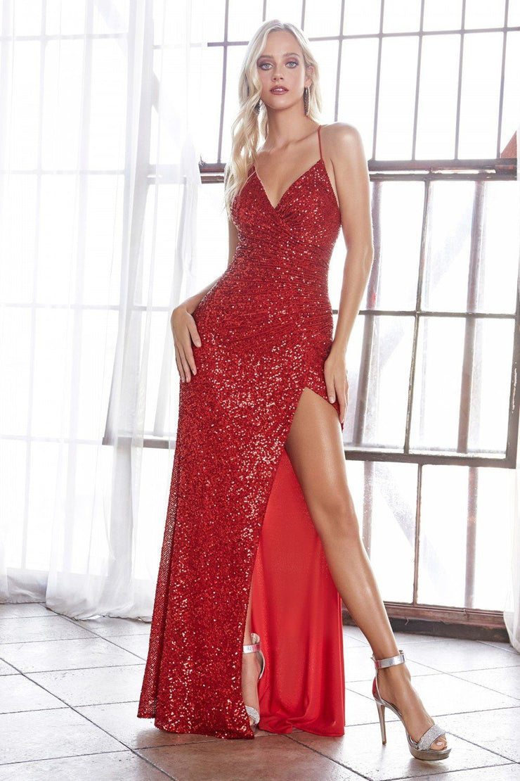 Long Fitted Sequin Dress with Corset Back by Cinderella Divine CH225