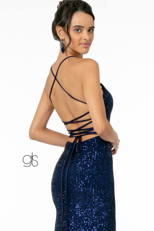 Long Fitted Sequin Dress with Side Slit by Elizabeth K GL2919