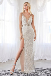 Long Fitted Sequin Dress with Slit by Cinderella Divine CDS359