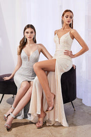 Long Fitted Sequin Dress with Slit by Cinderella Divine CH199