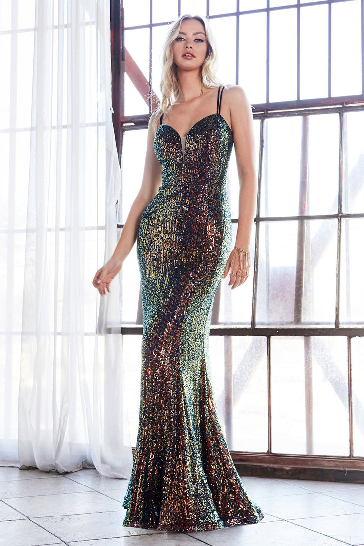 Long Fitted Sequin Sweetheart Dress by Cinderella Divine CH209