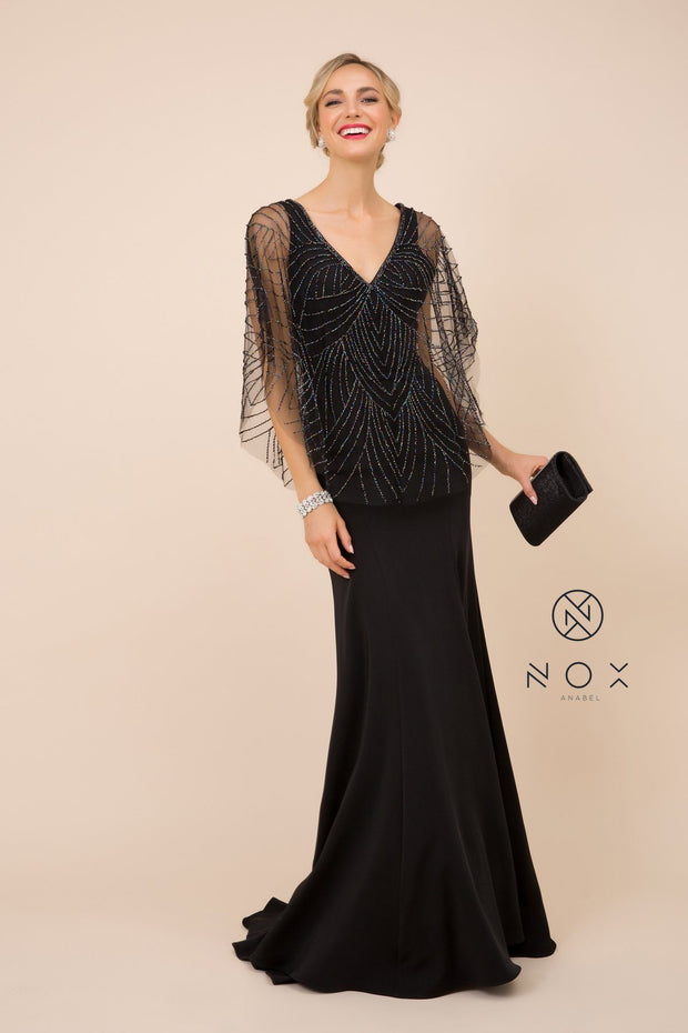 Long Fitted V-Neck Dress with Beaded Cape by Nox Anabel Y531