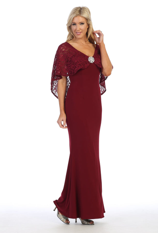 Long Fitted V-Neck Dress with Lace Capelet by Celavie 6399-Long Formal Dresses-ABC Fashion
