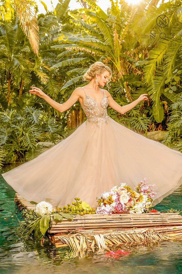 Long Floral Applique Tulle Dress by Nox Anabel E460
