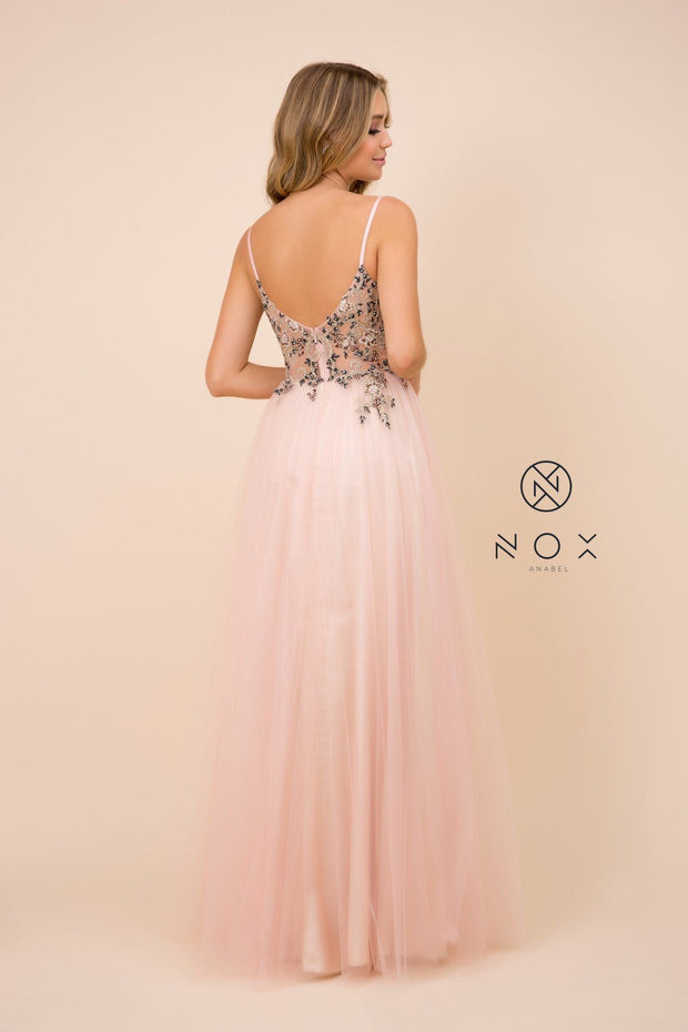 Long Floral Applique V-Neck Dress by Nox Anabel G382