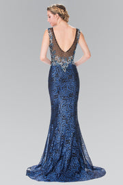 Long Floral Embroidered Sequined Dress by Elizabeth K GL2341-Long Formal Dresses-ABC Fashion