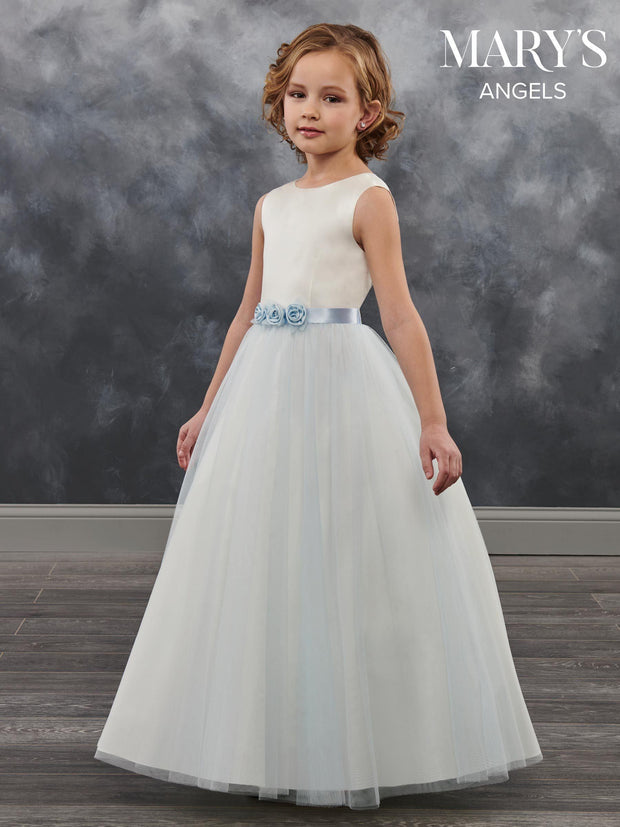Long Flower Girl Dress with Floral Sash by Mary's Bridal MB9023-Girls Formal Dresses-ABC Fashion