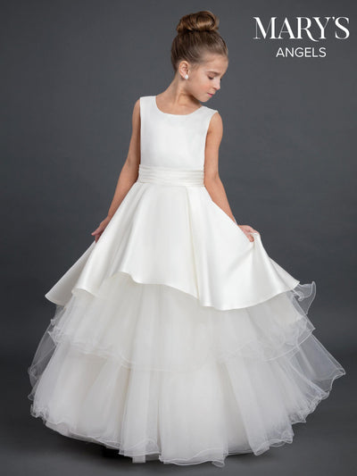 Long Flower Girl Dress with Tiered Skirt by Mary's Bridal MB9028-Girls Formal Dresses-ABC Fashion
