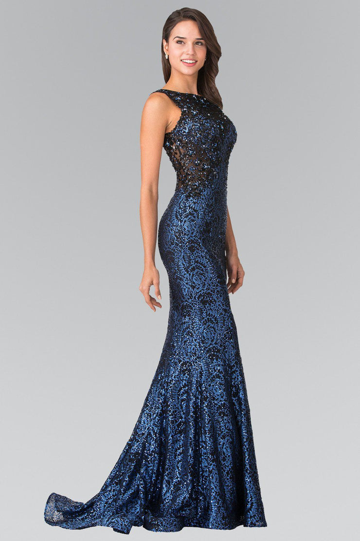 Long Flower Sequined Lace Dress by Elizabeth K GL2268-Long Formal Dresses-ABC Fashion