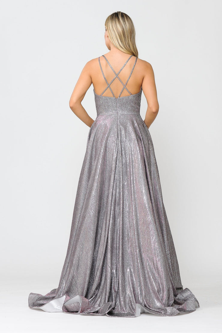 Long Foiled Glitter Dress with Strappy Back by Poly USA 8716