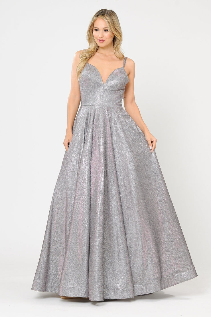 Long Foiled Glitter Sweetheart Dress by Poly USA 8714
