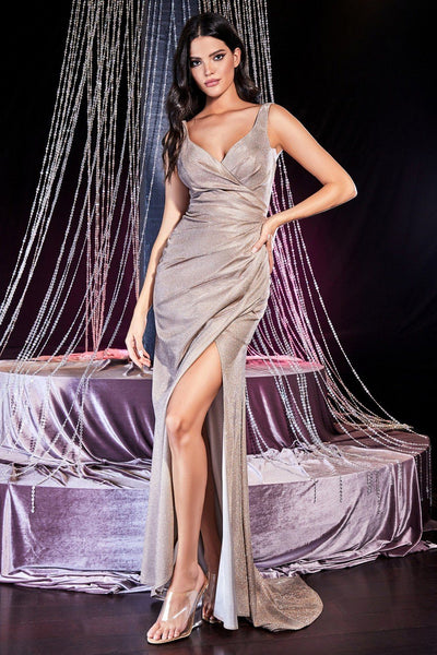 Long Fitted Glitter Dress with Slit by Cinderella Divine CF332