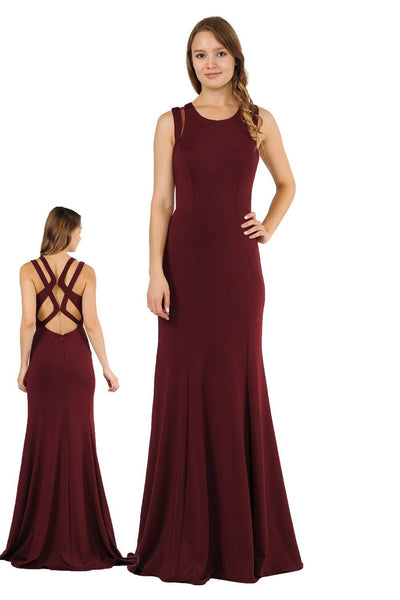 Long Formal Dress with Back Cut Outs by Poly USA 8232-Long Formal Dresses-ABC Fashion