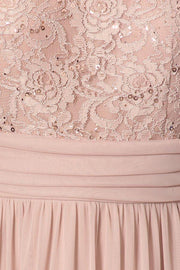 Long Formal Dress with Short-Sleeved Lace Bodice by Celavie 6371-Long Formal Dresses-ABC Fashion
