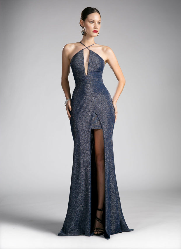 Long Formal Halter Dress with High Slit by Cinderella Divine CF279-2-Long Formal Dresses-ABC Fashion