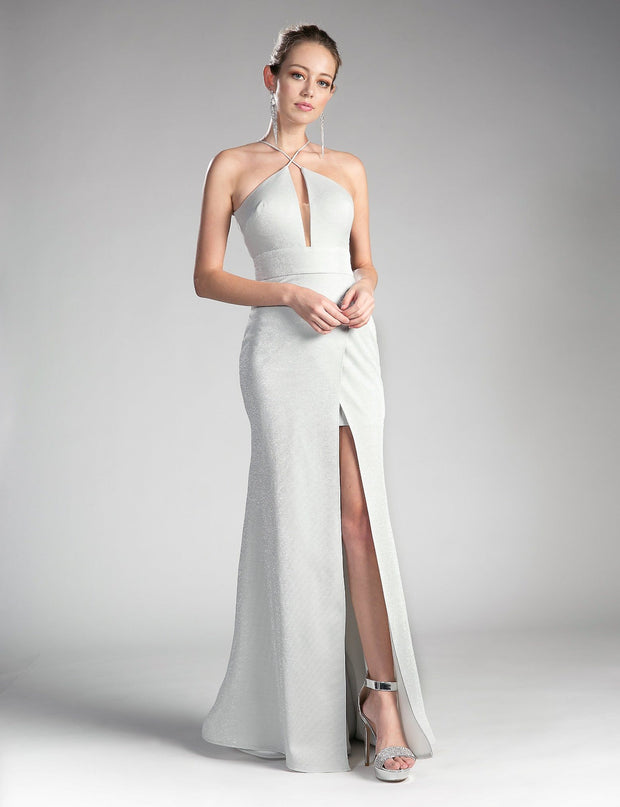 Long Formal Halter Dress with Slit by Cinderella Divine CF279-1-Long Formal Dresses-ABC Fashion
