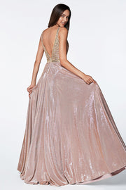 Long Glitter Dress with Beaded Bodice by Cinderella Divine KC879-Long Formal Dresses-ABC Fashion