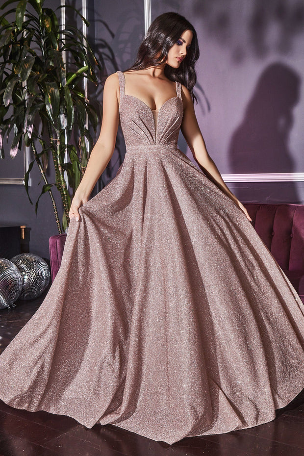 Long Glitter Dress with Corset Back by Cinderella Divine J792