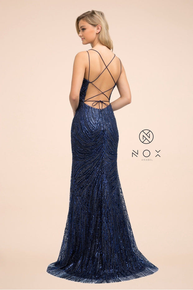 Long Glitter Dress with Corset Back by Nox Anabel T316