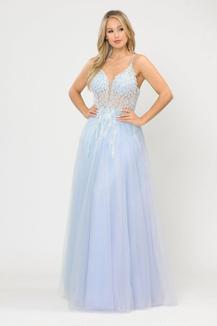 Long Glitter Dress with Embellished Bodice by Poly USA 8718