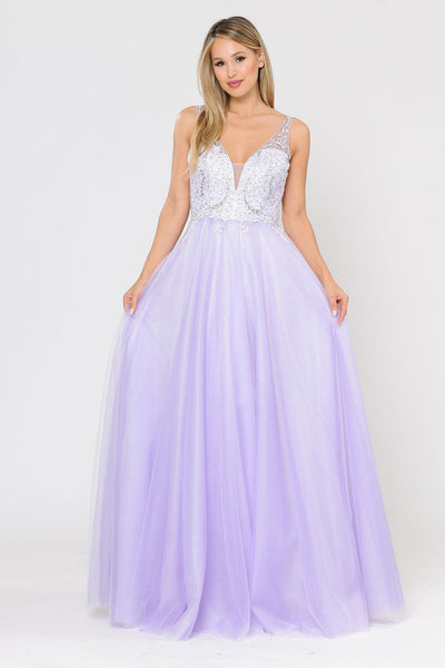 Long Glitter Dress with Embroidered Bodice by Poly USA 8354