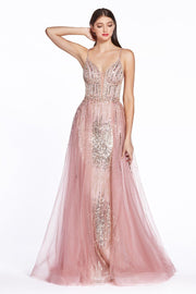 Long Glitter Dress with Tulle Over Skirt by Cinderella Divine CR841-Long Formal Dresses-ABC Fashion