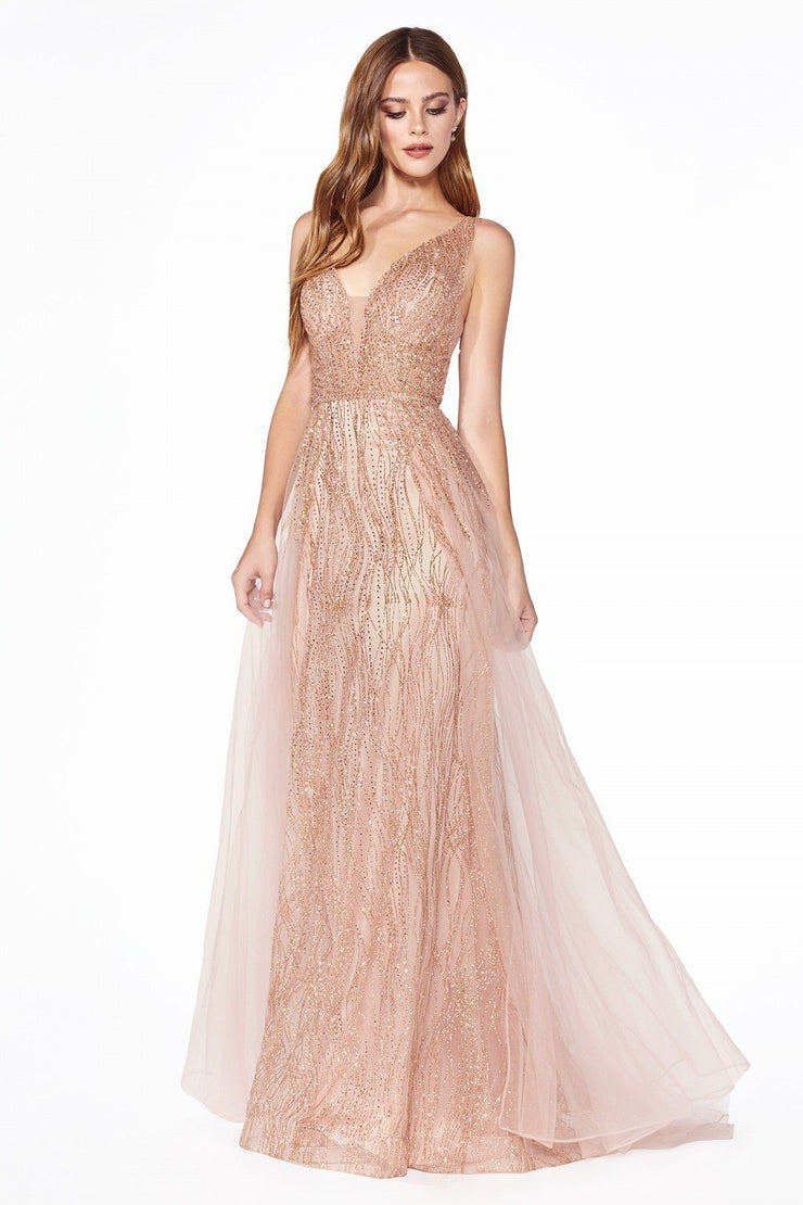 Long Glitter Dress with Tulle Overskirt by Cinderella Divine CD0152-Long Formal Dresses-ABC Fashion