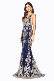 Long Glitter Embroidered Mermaid Dress by Cinderella Divine J786