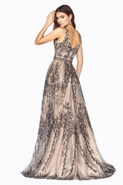 Long Glitter Floral A-line Dress by Cinderella Divine OC004-Long Formal Dresses-ABC Fashion