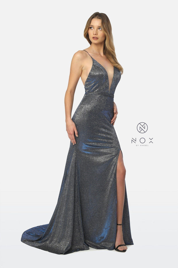 Long Glitter Jersey V-Neck Dress with Leg Slit by Nox Anabel C238-Long Formal Dresses-ABC Fashion