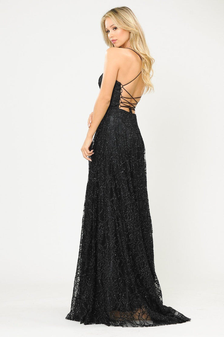 Long Glitter Lace Dress with Corset Back by Poly USA 8592