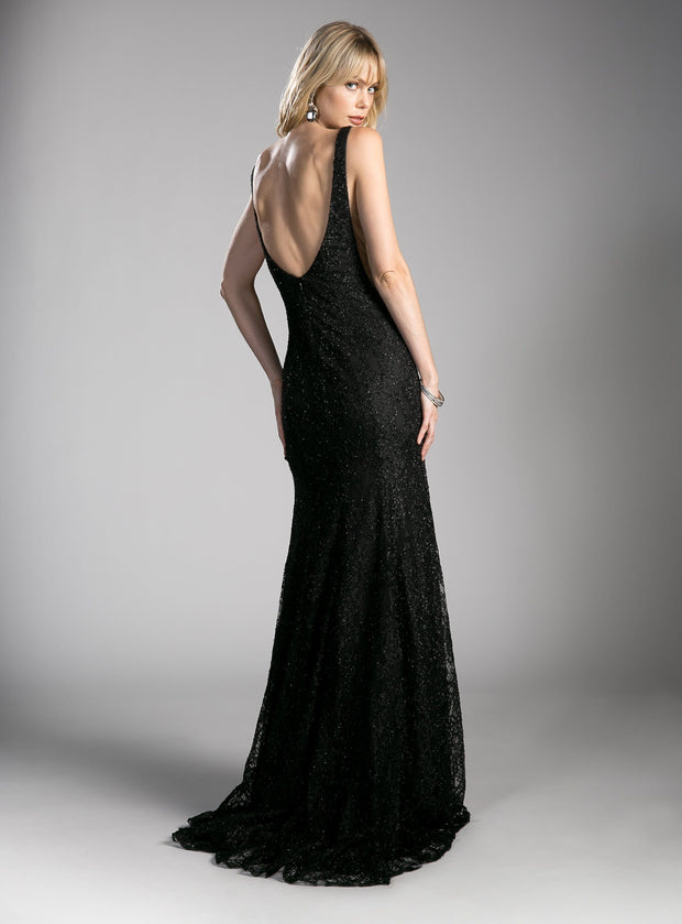 Long Glitter Lace Dress with Slit by Cinderella Divine KC1843-Long Formal Dresses-ABC Fashion