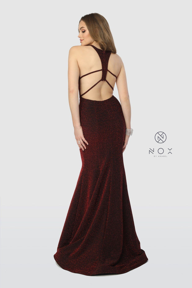 Long Glitter Mermaid Dress with Strappy Back by Nox Anabel C208-Long Formal Dresses-ABC Fashion