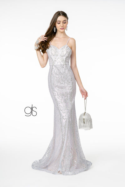 Long Glitter Mesh Mermaid Dress by Elizabeth K GL2936