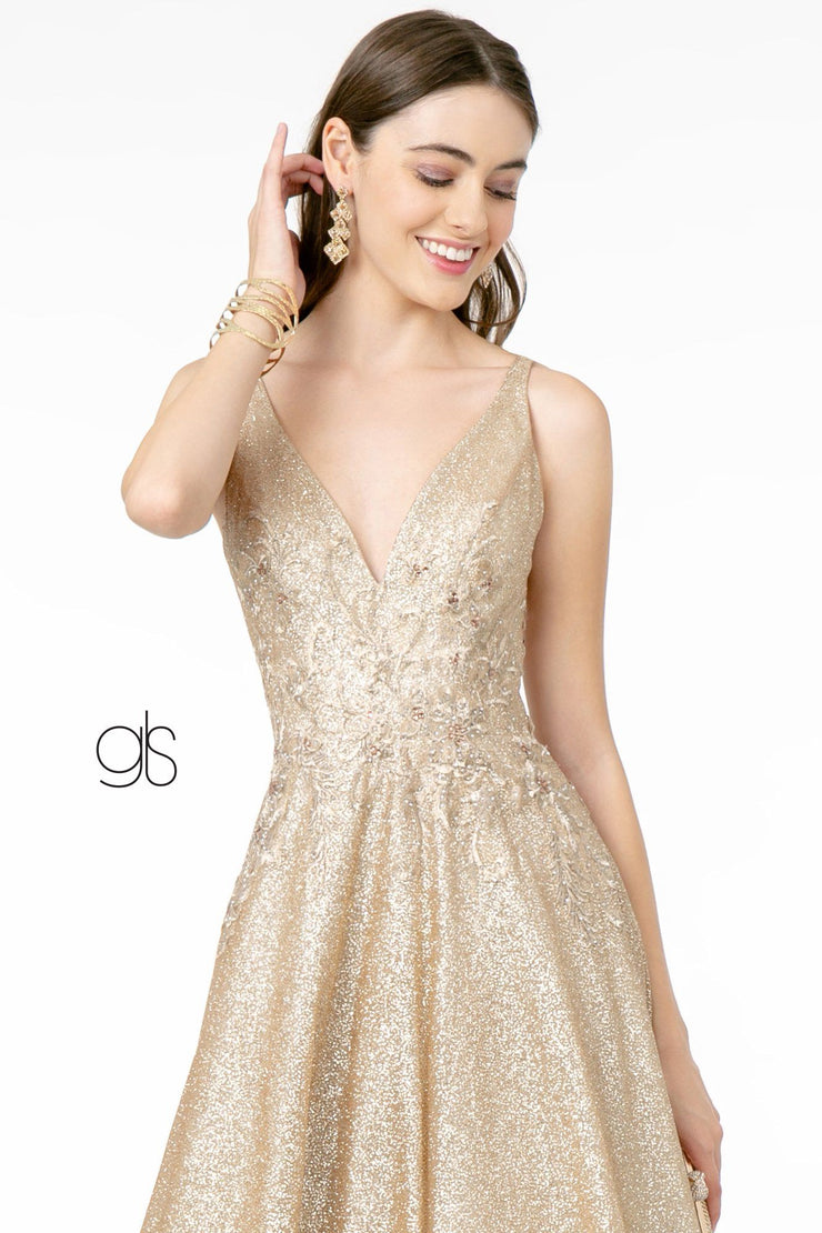Long Glitter Ombre V-Neck Dress by Elizabeth K GL2992