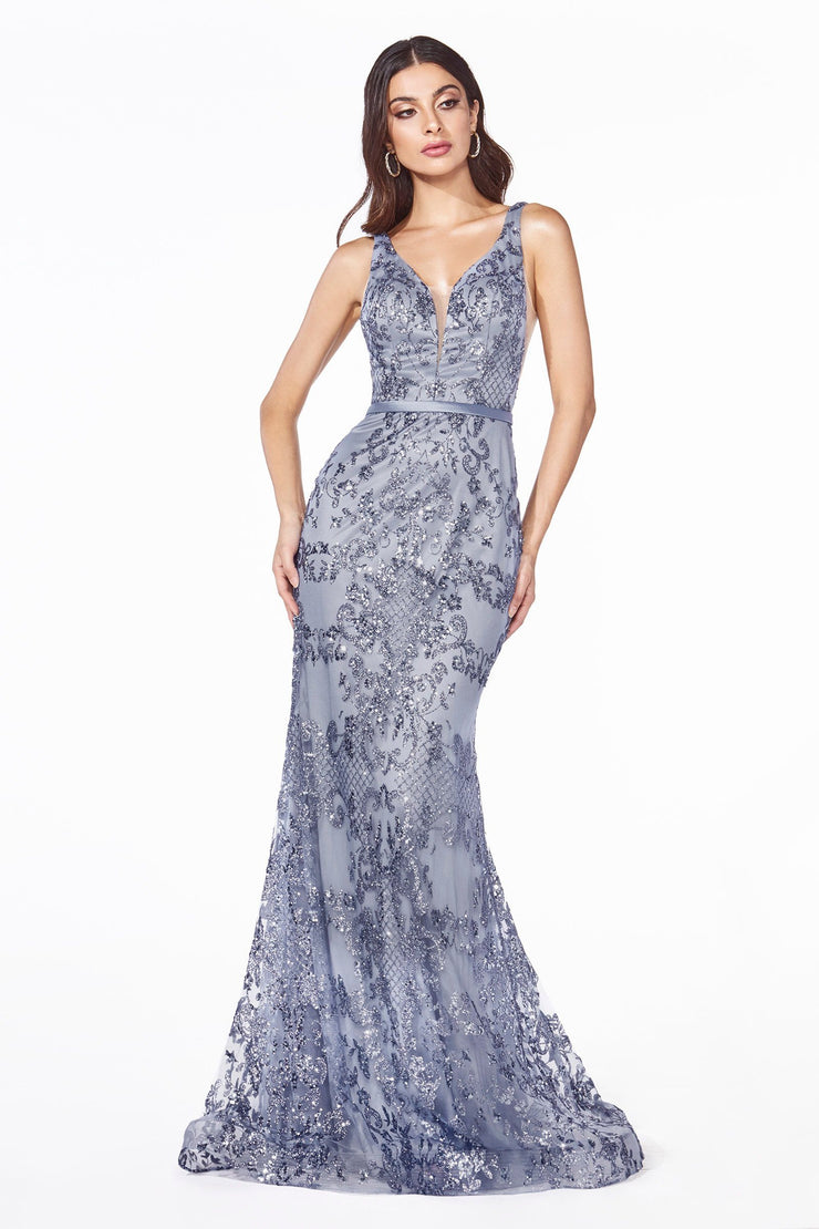 Long Glitter Print Fitted Dress by Cinderella Divine J785