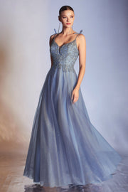 Long Glitter Tulle Dress by Cinderella Divine CD0178